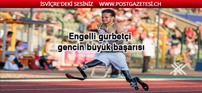 Engelli gurbetçi gencin büyük başarısı