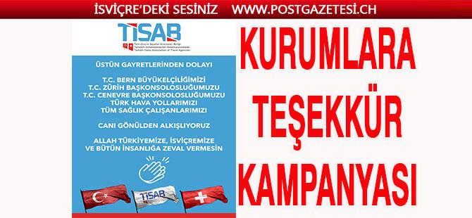 TİSAB'tan Türk kurumlarına alkışlı teşekkür kampanyası