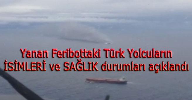 Yanan feribottaki Türk yolcuların kimliği belirlendi
