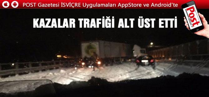 Kar Yağışları İsviçre'de trafiği felç etti