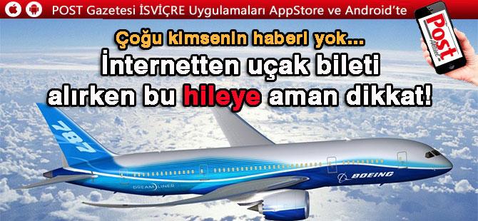 İnternetten uçak bileti alırken bu hileye dikkat!