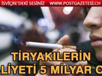 İsviçre'de Sigara tiryakilerinin Maliyeti 5 Milyar CHF