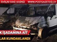 Türk işadamına ait araçlar kundaklandı