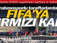 Trabzonsporlu taraftarlar Zürih'te FIFA binası önünde toplandı