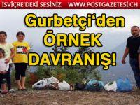 İzindeki gurbetçiden örnek davranış: Çocuklarıyla sokaklardaki çöpleri topladı